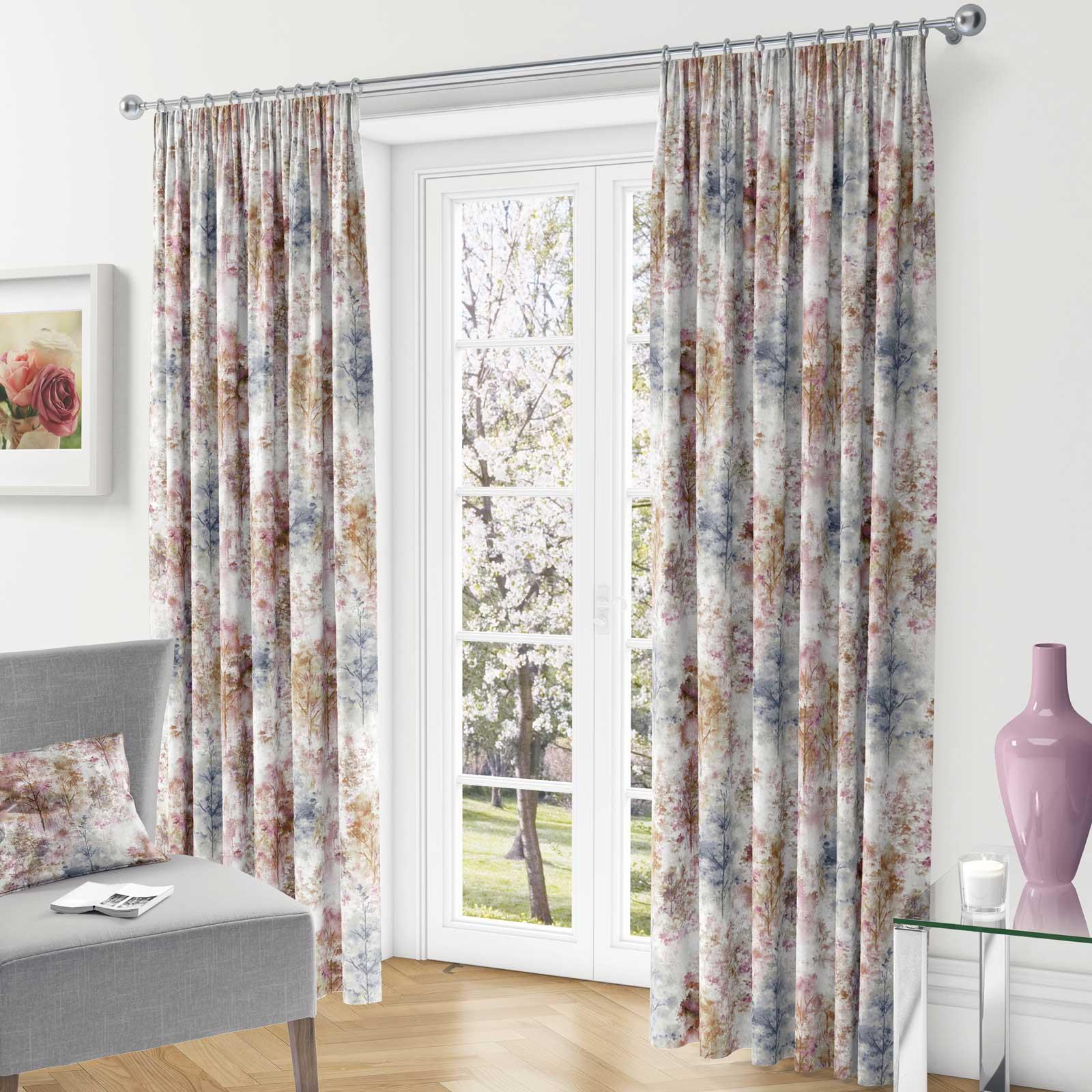 Woodland-Cinta-superior-Cortinas-de-arboles-de-impresion-Ready-Made-3-034-pares-de-cortina-plisado miniatura 3