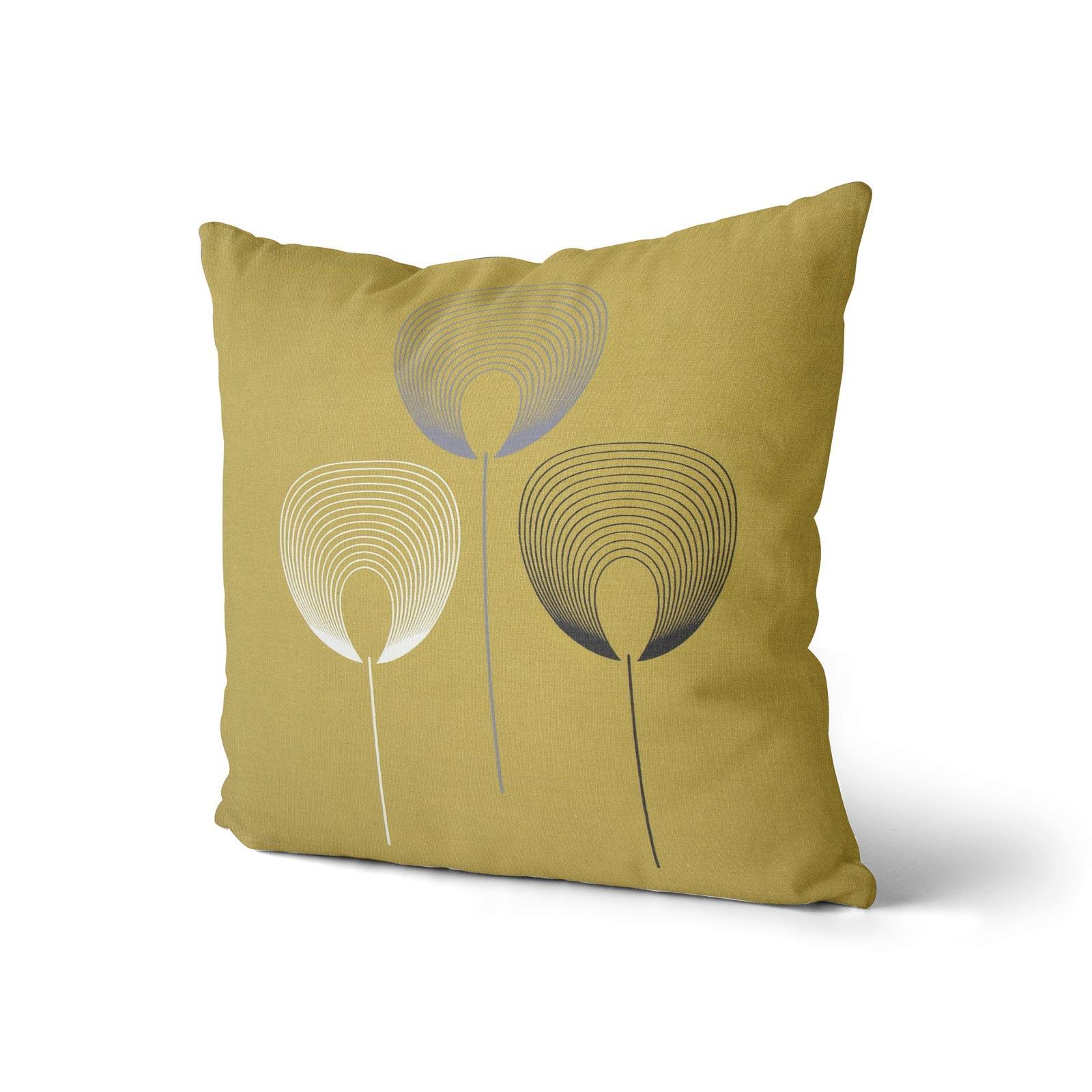 Geometrica-Cushion-Covers-Cojines-De-Impresion-Floral-Gris-Beige-Ocre-cubre-17-034-X-17-034 miniatura 5