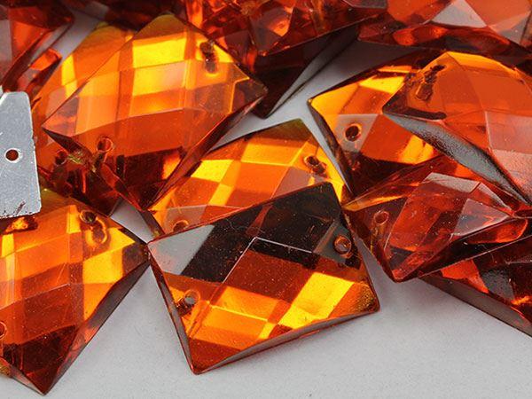 18x13mm Orange Hyacinth CH08 Rectangular Flat Back Sew On Gems For Craft 45 PCS