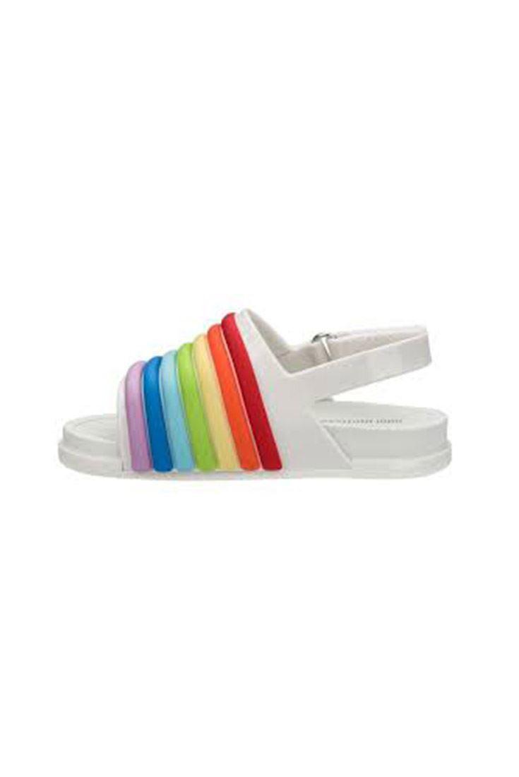 b512d11ba1d6 ... Mini Melissa - Kids Beach Slide Sandal Rainbow BB - White ...