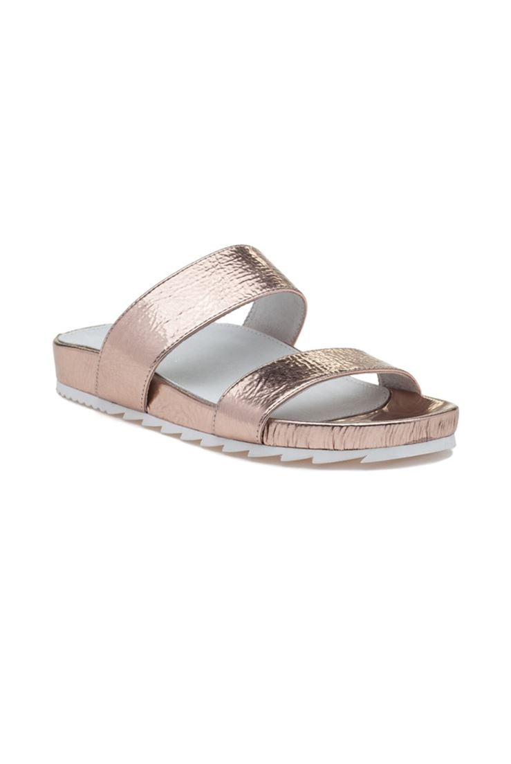 Jslides - Women's Edie Leather - pinkgold Cracked