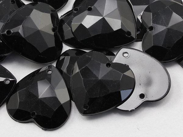 20mm Jet Black CH37 Heart Flat Back Sew On Gems For Craft 25PCS