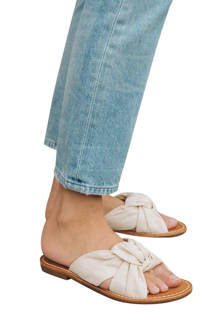 cd3368cb8 Details about Soludos - Women s Linen Knotted Slide Sandal - Blush