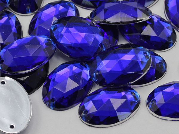 25x18mm Blue Sapphire CH09 Oval Flat Back Sew On Gems For Craft 20 PCS
