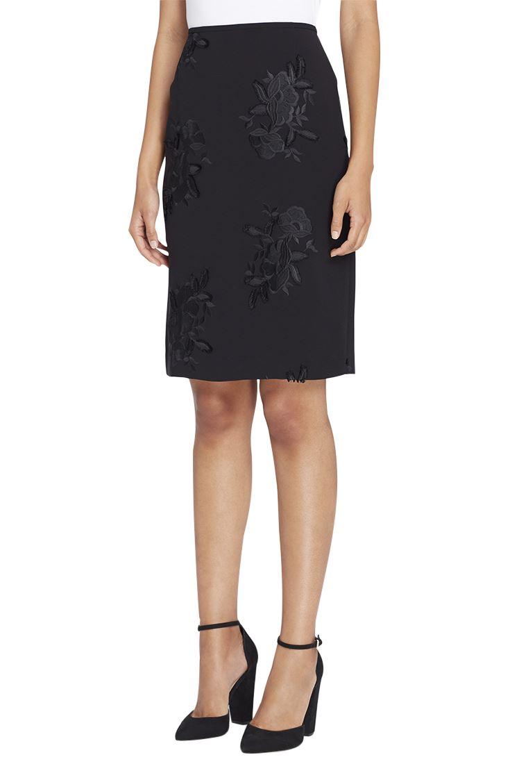 173a36a257 Tahari - Women's Floral Appliqué Crepe Pencil Skirt - Black | eBay