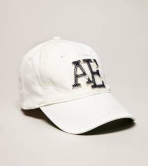 3ce75cb63be American Eagle Outfitters White navy AE Logo Adult Fitted Baseball ...