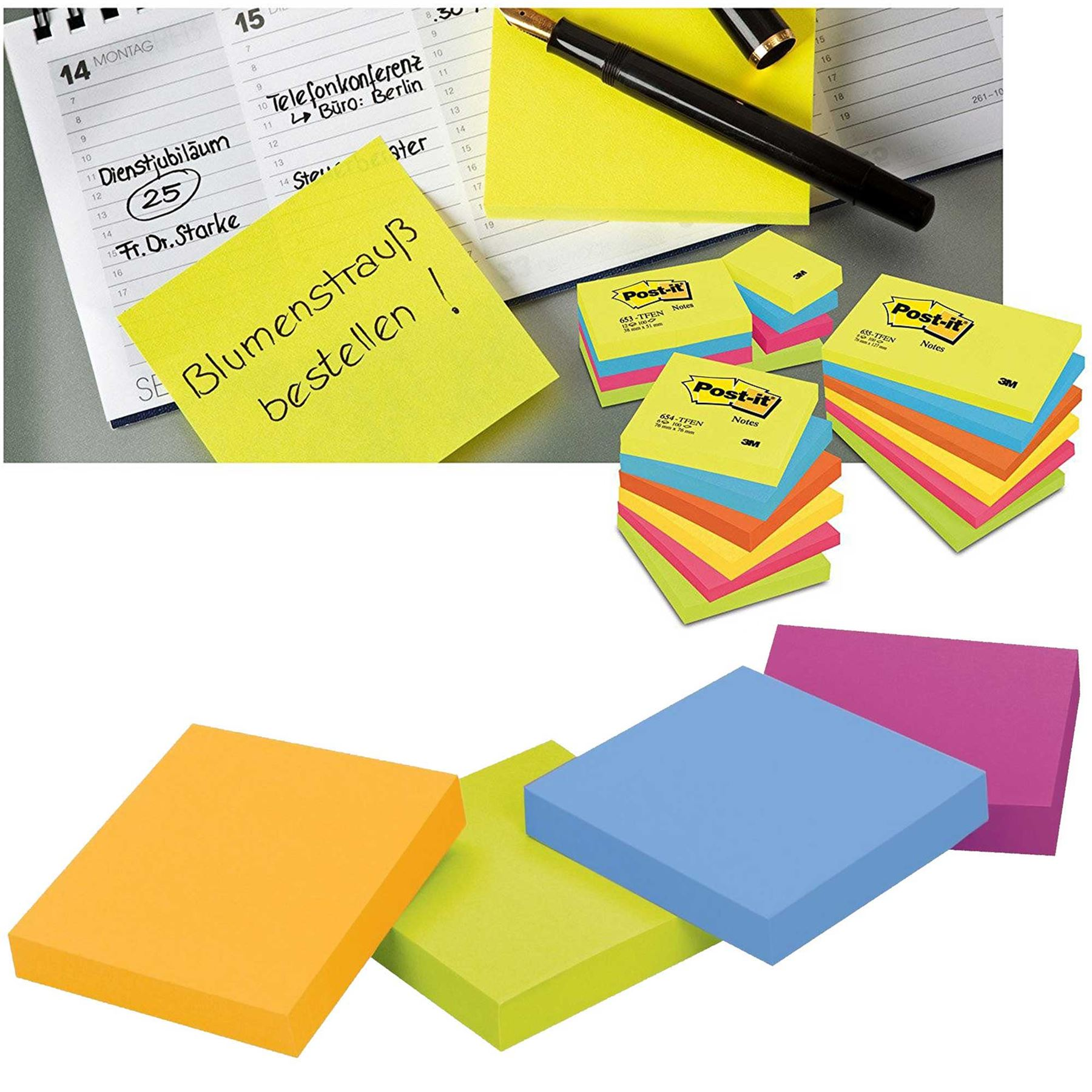 Neon Removeable Sticky It Post Notes 76mm x 76mm 3 x 3 75 Sheets Per Pad