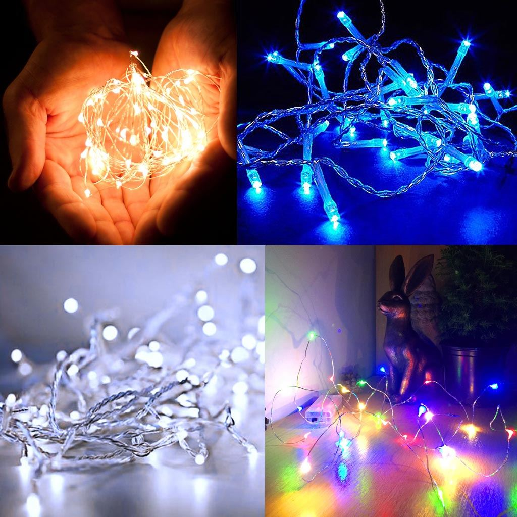 Blue Cold White Battery Powered LED Christmas Fairy Lights 1.9M 20 Lights