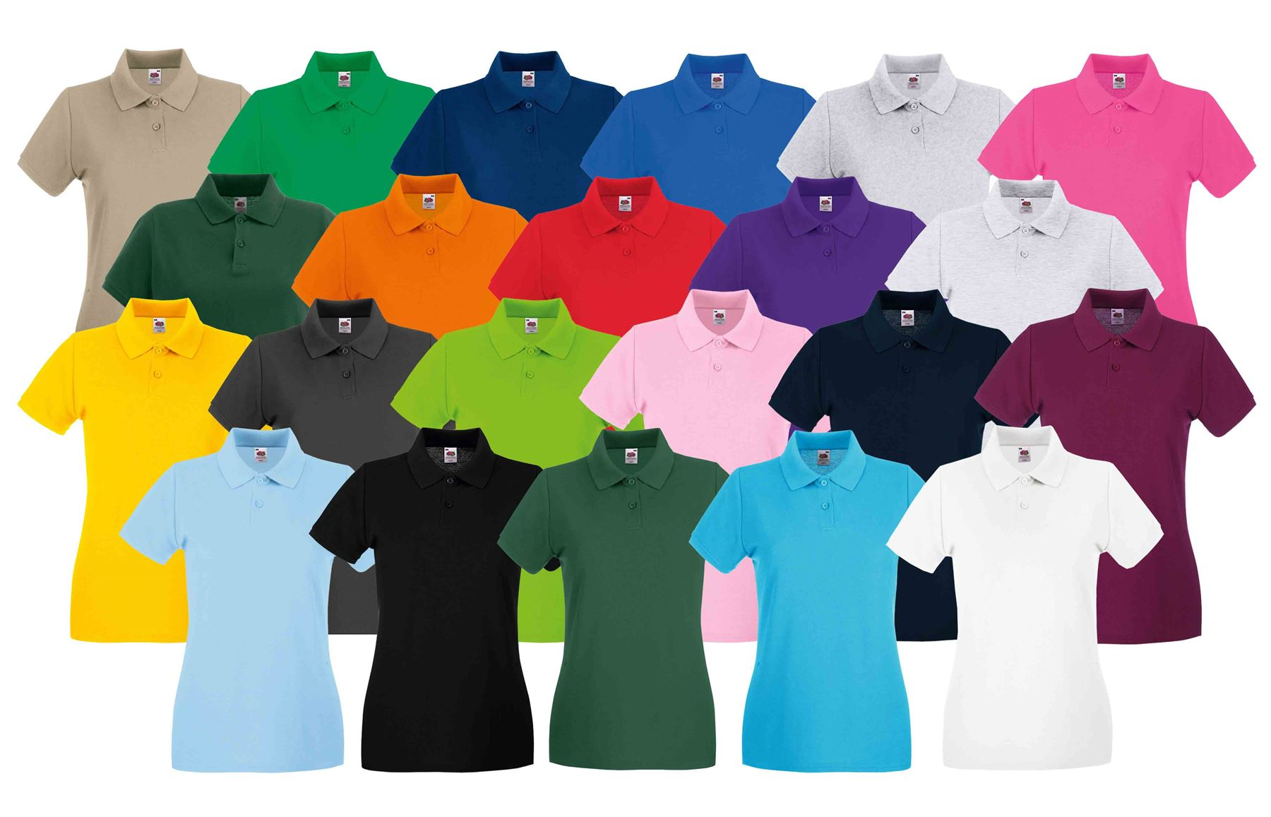 59a2585e Details about Fruit Of The Loom Ladies Lady Fit Premium PiqueCadat collar Polo  Shirts T-shirt