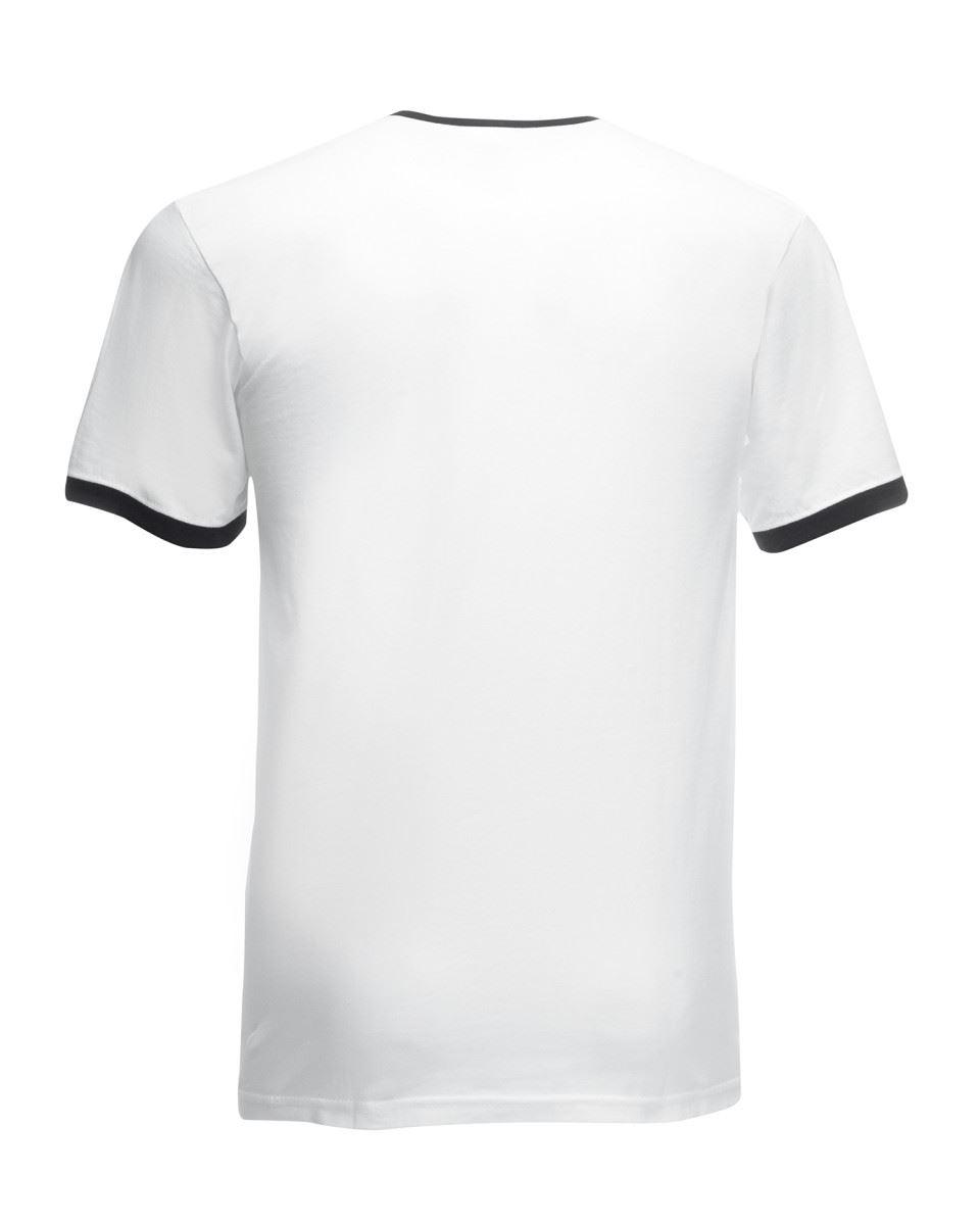 Fruit-of-the-Loom-Mens-Short-Sleeve-Plain-Ringer-T-Shirt-Shirt-Two-Tone-Contrast thumbnail 3