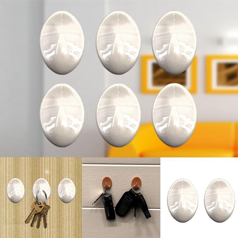Autoadesivo-bastone-su-Ganci-Marrone-Bianco-Ovale-Cappello-Cappotto-Porta-Muro-appiccicoso-Staffa miniatura 81