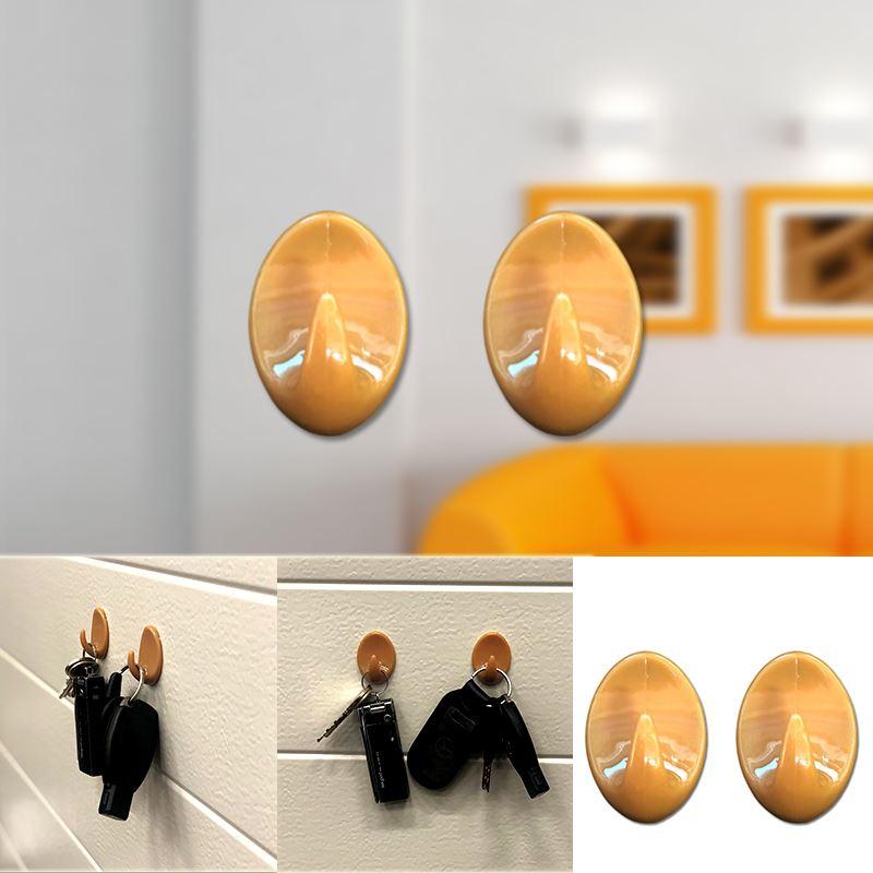 Autoadesivo-bastone-su-Ganci-Marrone-Bianco-Ovale-Cappello-Cappotto-Porta-Muro-appiccicoso-Staffa miniatura 16