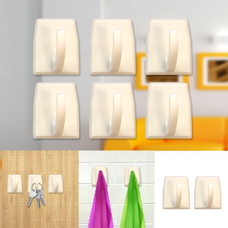 Autoadesivo-bastone-su-Ganci-Marrone-Bianco-Ovale-Cappello-Cappotto-Porta-Muro-appiccicoso-Staffa miniatura 108