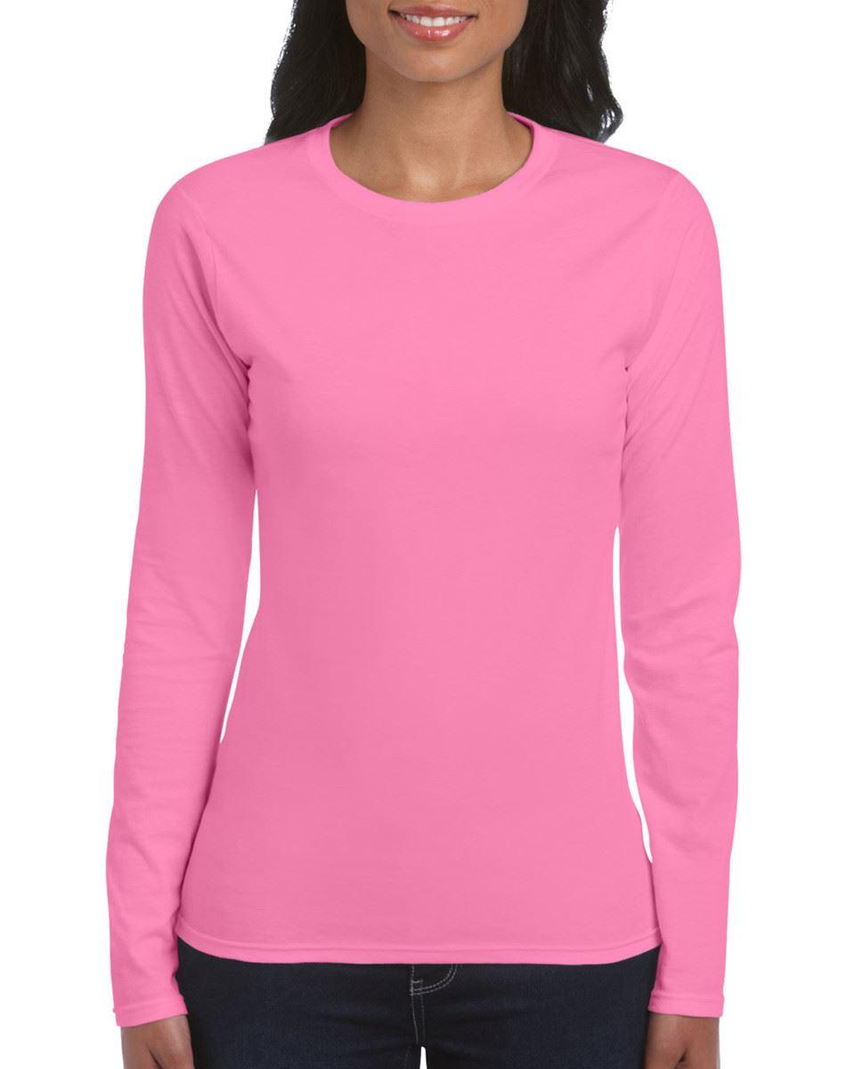 GILDAN-softsyle-Femmes-T-shirt-homme-a-manches-longues-100-Coton-Doux-Decontracte-Femme miniature 13