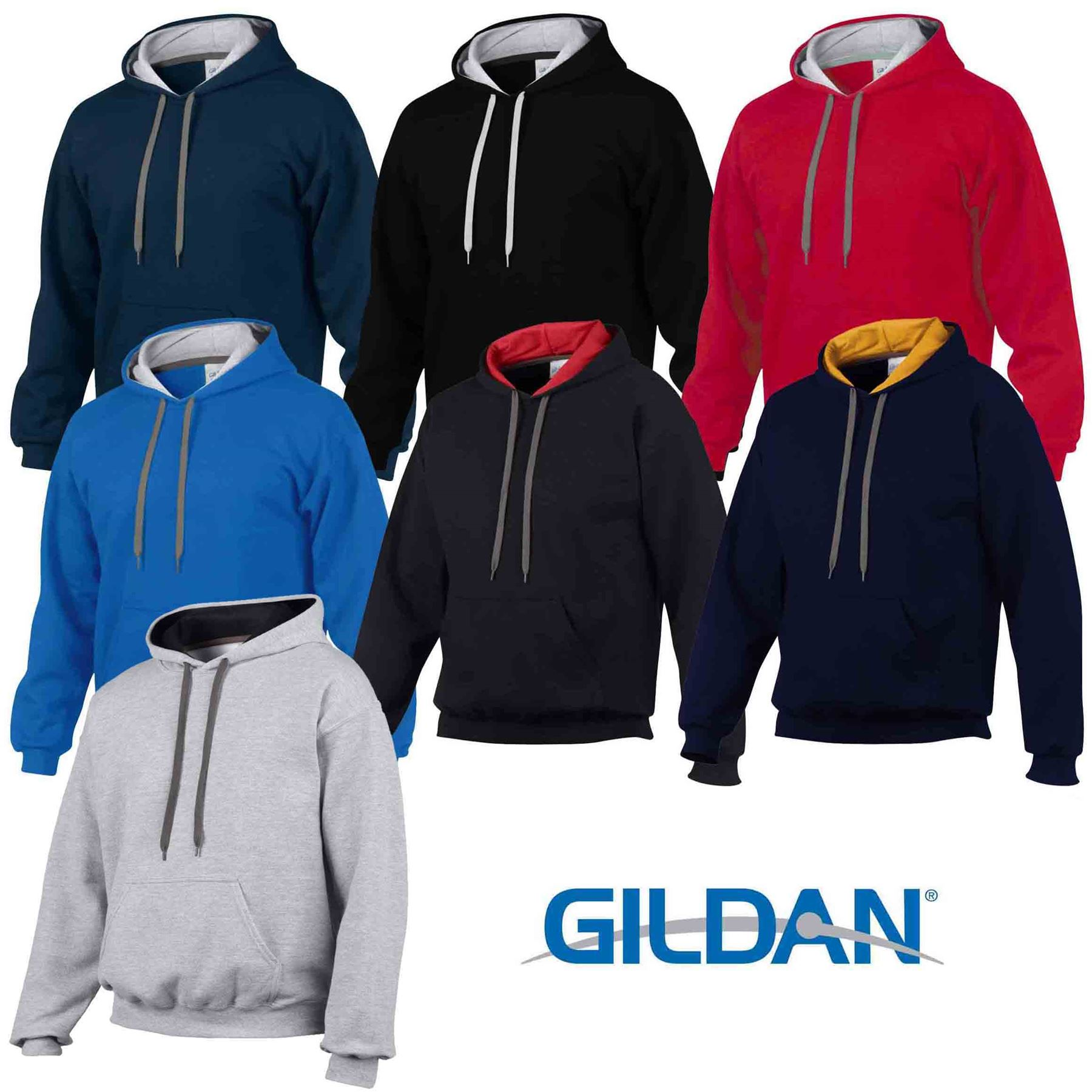 Details about Gildan Heavy Blend Plain Contrast Hooded Sweatshirt Hoodie Sweat Hoody Jumper