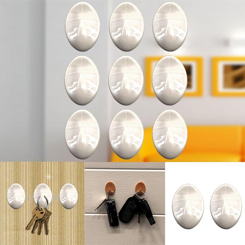 Autoadesivo-bastone-su-Ganci-Marrone-Bianco-Ovale-Cappello-Cappotto-Porta-Muro-appiccicoso-Staffa miniatura 86