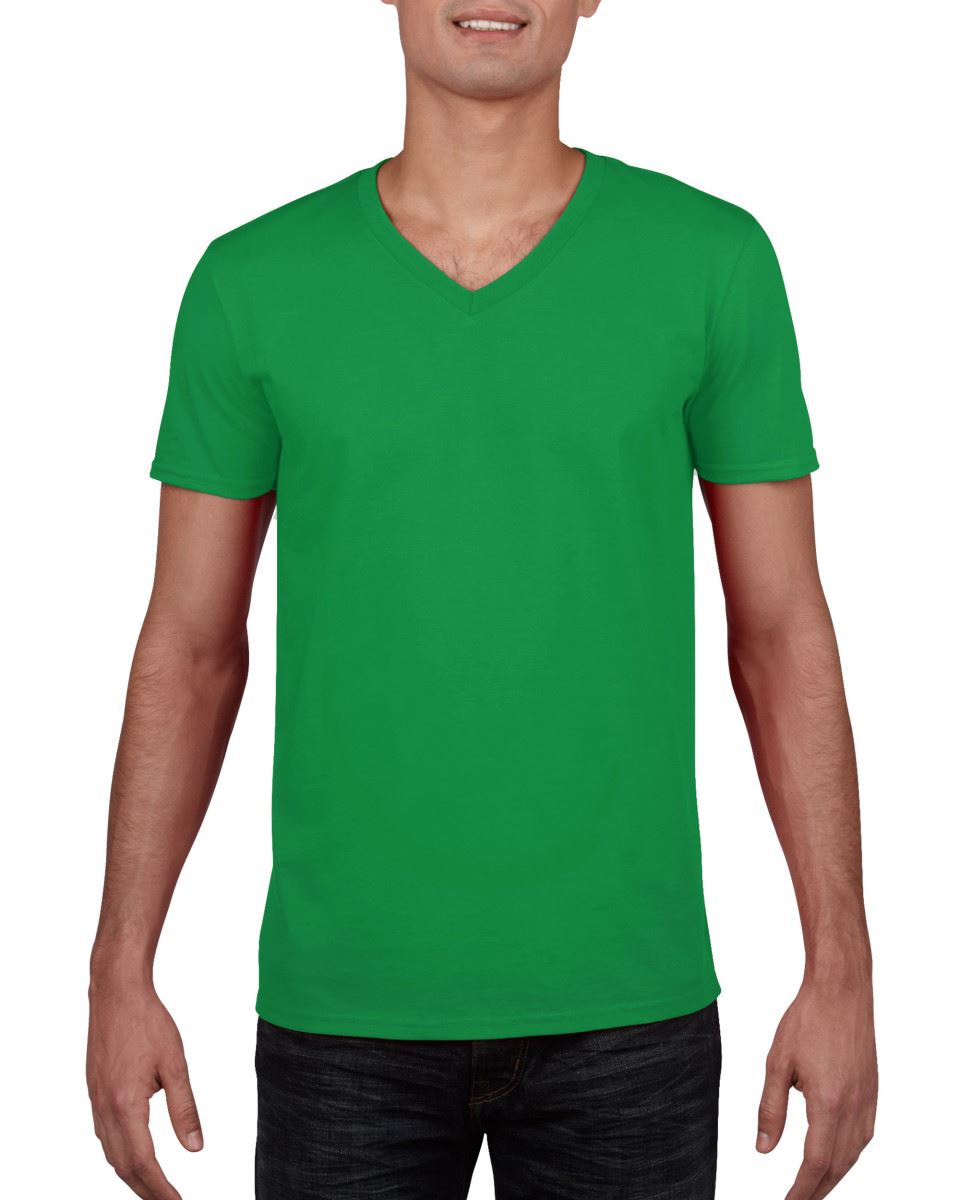 GILDAN-da-uomo-MEN-039-S-SOFT-STYLE-Plain-V-Neck-T-SHIRT-COTTON-TEE-T-shirt miniatura 33