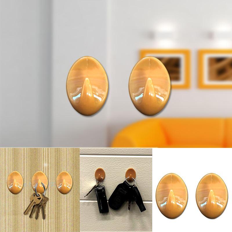 Autoadesivo-bastone-su-Ganci-Marrone-Bianco-Ovale-Cappello-Cappotto-Porta-Muro-appiccicoso-Staffa miniatura 12