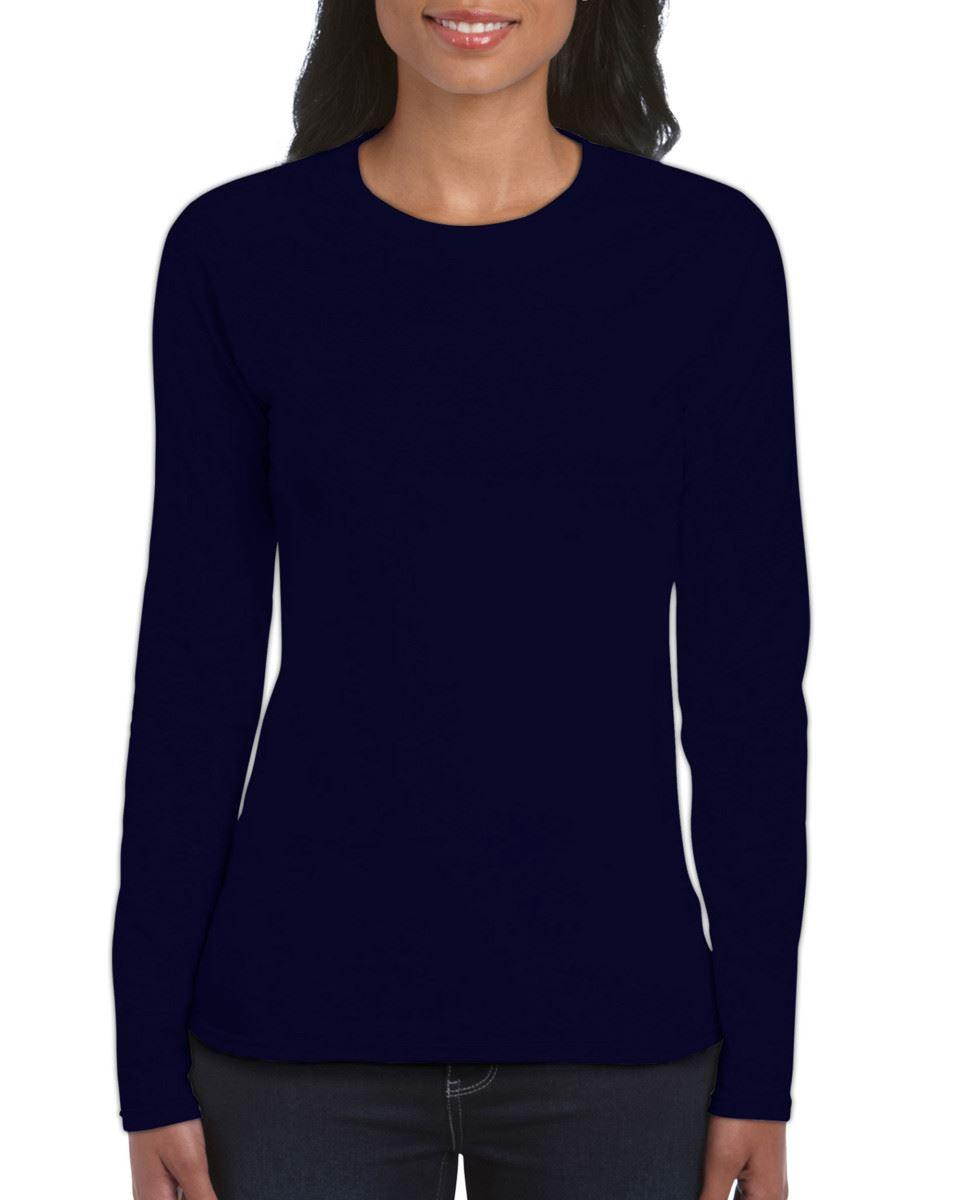GILDAN-softsyle-Femmes-T-shirt-homme-a-manches-longues-100-Coton-Doux-Decontracte-Femme miniature 28