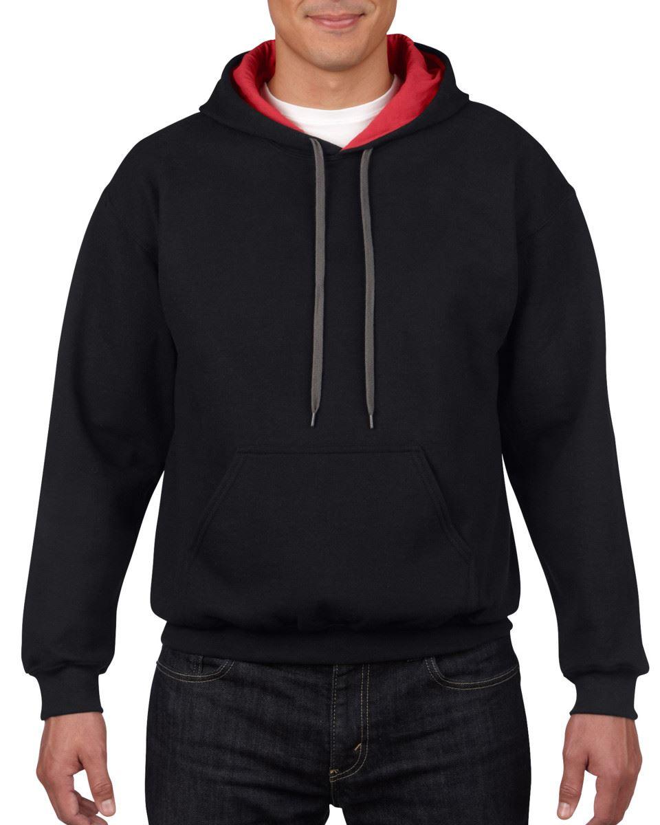 Gildan-Heavy-Blend-Plain-Contrast-Hooded-Sweatshirt-Hoodie-Sweat-Hoody-Jumper thumbnail 6