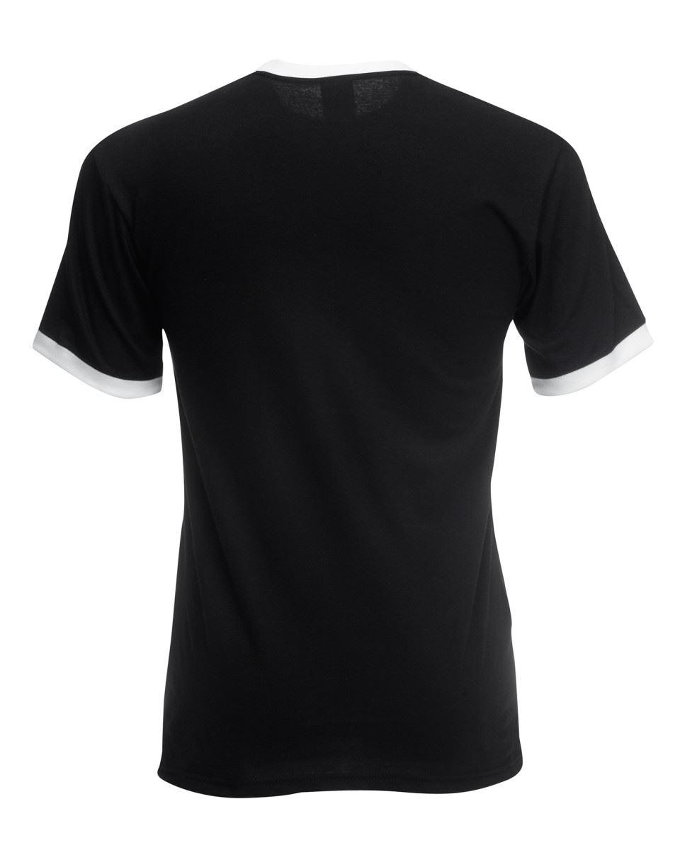 Fruit-of-the-Loom-Mens-Short-Sleeve-Plain-Ringer-T-Shirt-Shirt-Two-Tone-Contrast thumbnail 5