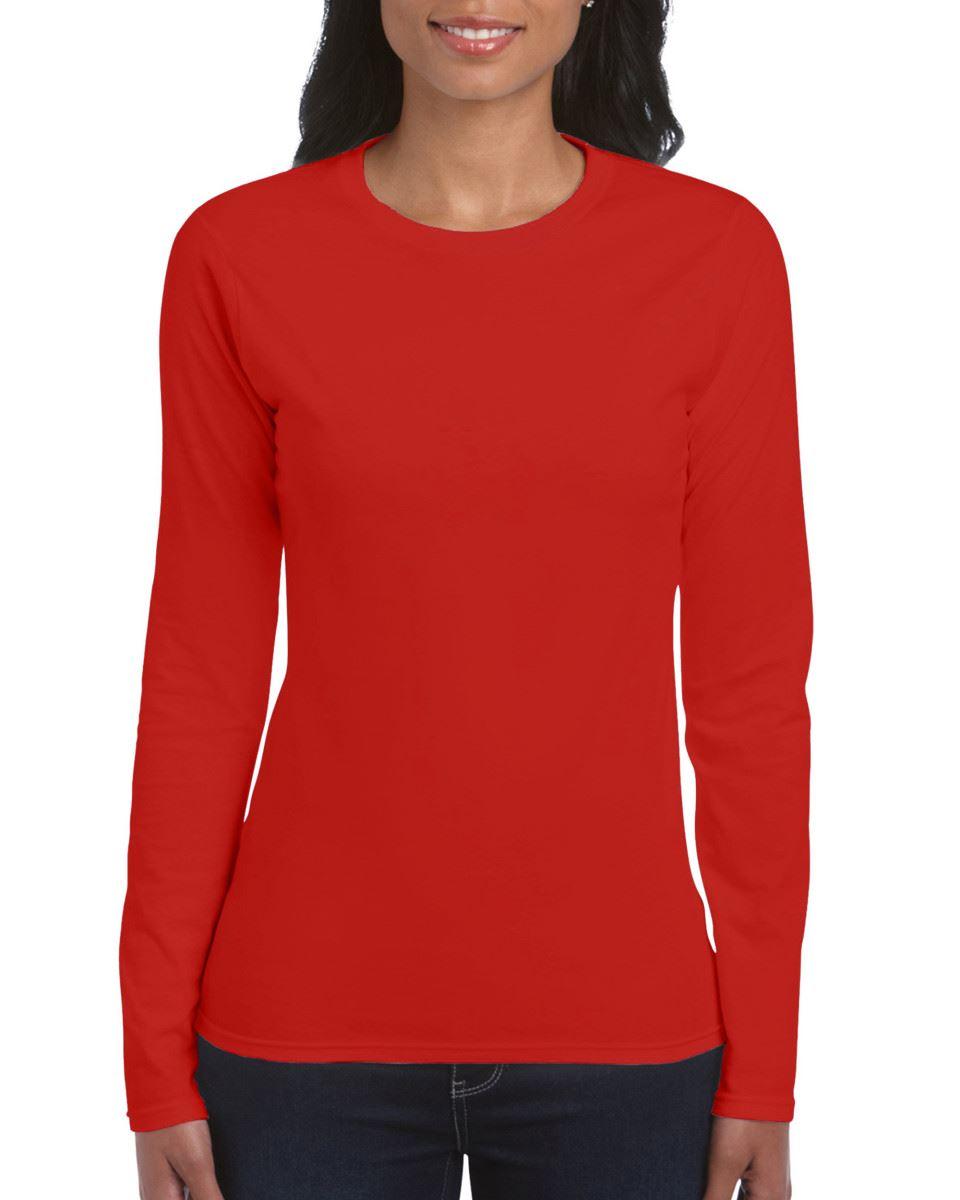 GILDAN-softsyle-Femmes-T-shirt-homme-a-manches-longues-100-Coton-Doux-Decontracte-Femme miniature 33