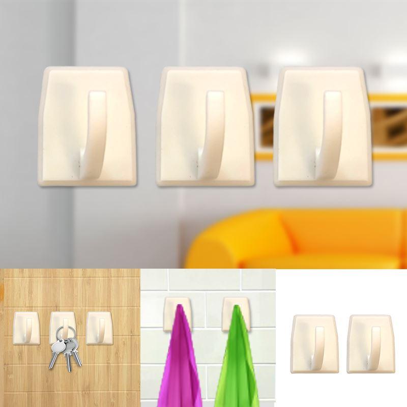 Autoadesivo-bastone-su-Ganci-Marrone-Bianco-Ovale-Cappello-Cappotto-Porta-Muro-appiccicoso-Staffa miniatura 96
