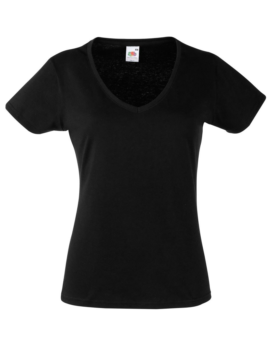Fruit-Of-The-Loom-LADIES-T-SHIRT-V-NECK-LADY-FIT-COTTON-LYCRA-TOP-TEE-XS-2XL thumbnail 4