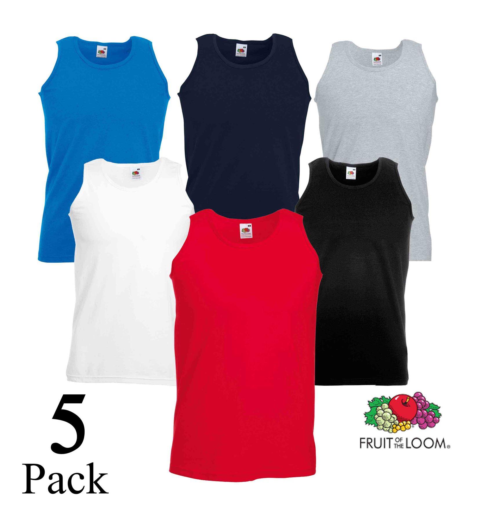 Printable Athletic Plain Tank Top 5 Pack Mens Fruit Of The Loom Vest Gym