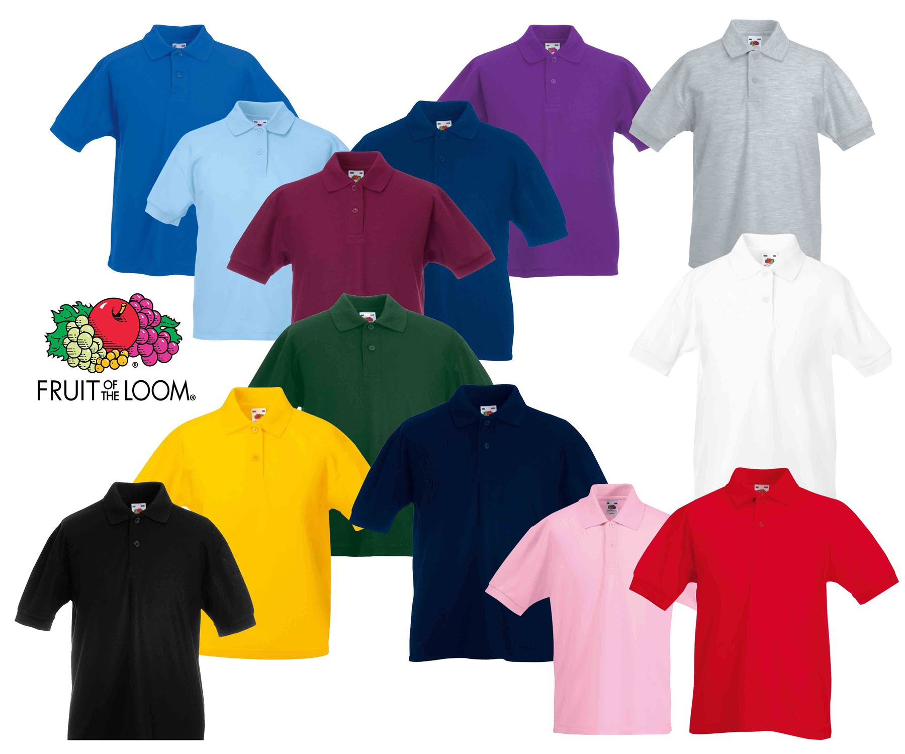 Fruit Of The Loom Unisex Childrens 65//35 Long Sleeve Polo shirt tops 14-15