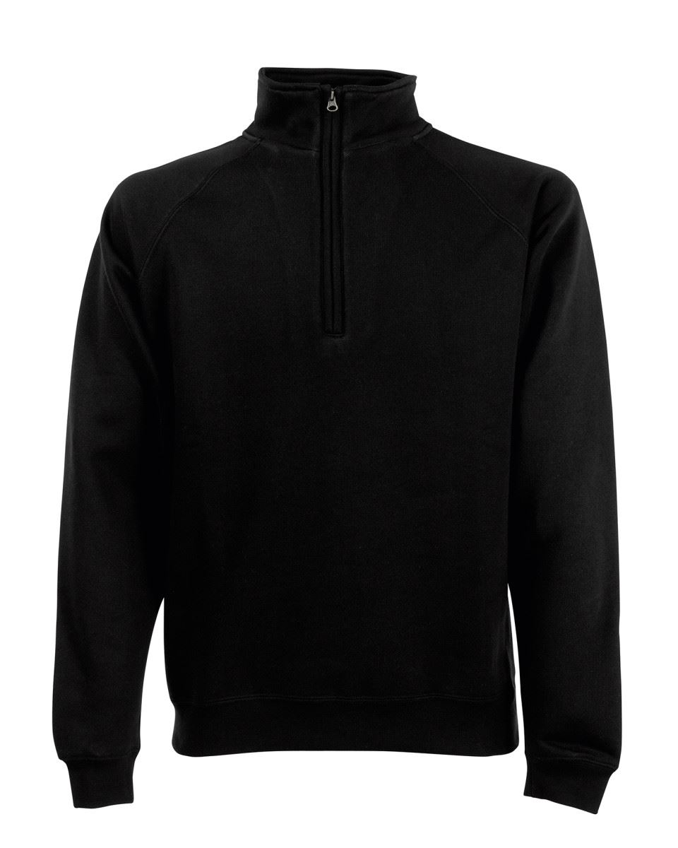 Fruit-Of-The-Loom-Mens-Classic-Zip-Neck-Sweat-Cadet-collar-Sweatshirts miniatura 2