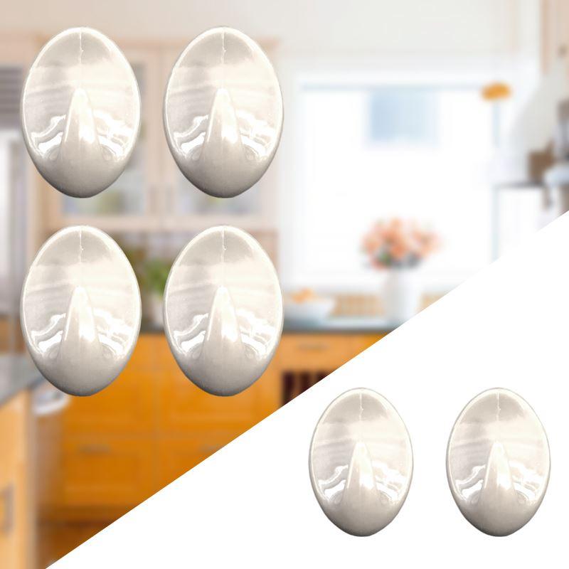 Autoadesivo-bastone-su-Ganci-Marrone-Bianco-Ovale-Cappello-Cappotto-Porta-Muro-appiccicoso-Staffa miniatura 83