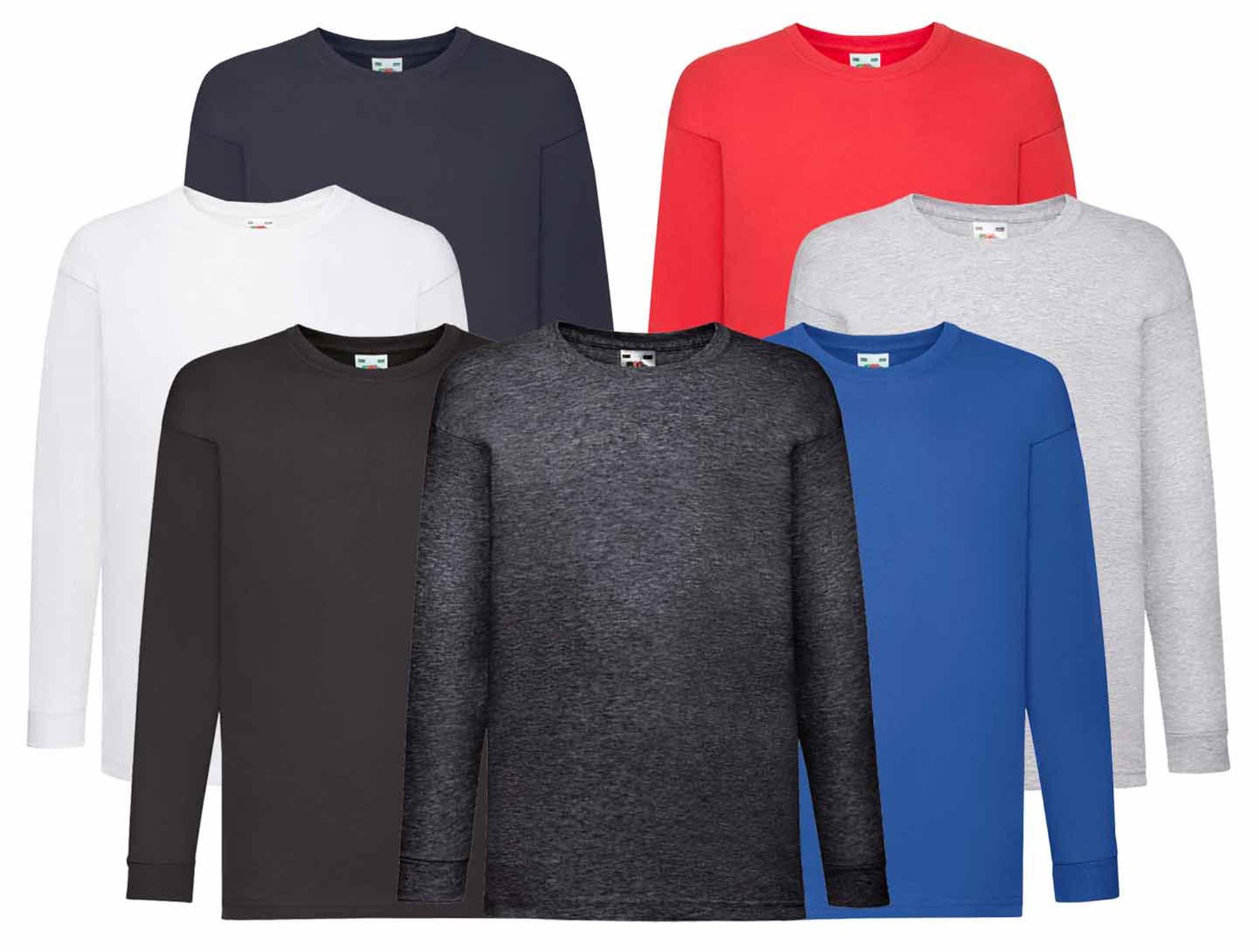 Kids Fruit of the Loom Long Sleeve Cotton t-shirt-Chidrens unisex top sizes 3-13