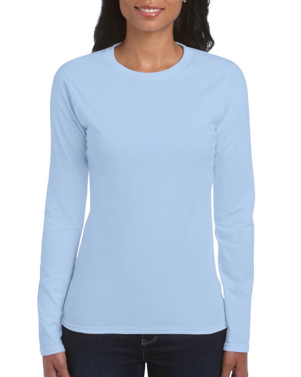 GILDAN-softsyle-Femmes-T-shirt-homme-a-manches-longues-100-Coton-Doux-Decontracte-Femme miniature 23