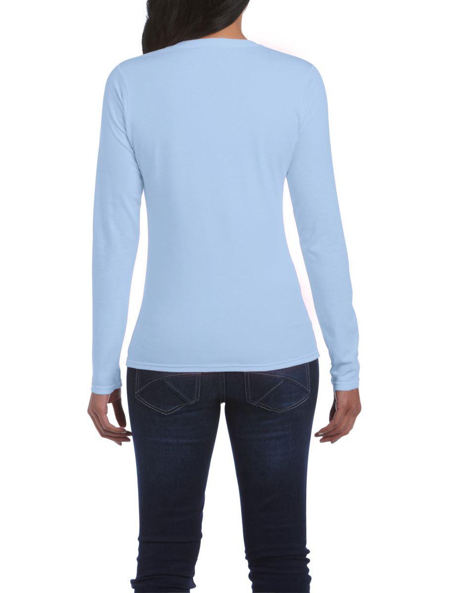 GILDAN-softsyle-Femmes-T-shirt-homme-a-manches-longues-100-Coton-Doux-Decontracte-Femme miniature 24