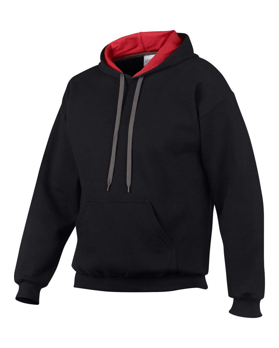 Gildan-Heavy-Blend-Plain-Contrast-Hooded-Sweatshirt-Hoodie-Sweat-Hoody-Jumper thumbnail 5