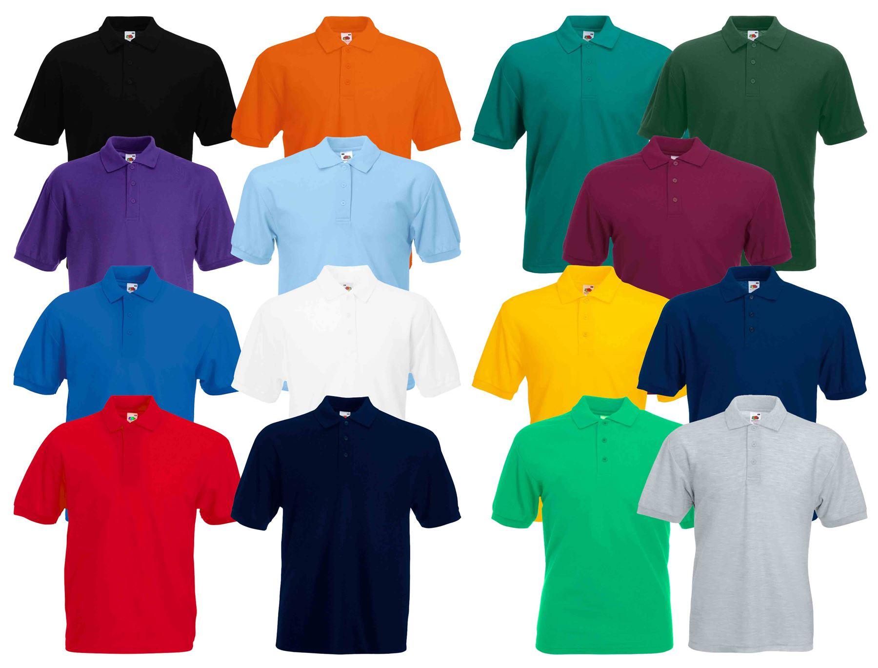 0dacfc43 Details about Fruit of the Loom Plain Cotton Mens Polo Shirts T-Shirt Short  Sleeve Tshirt