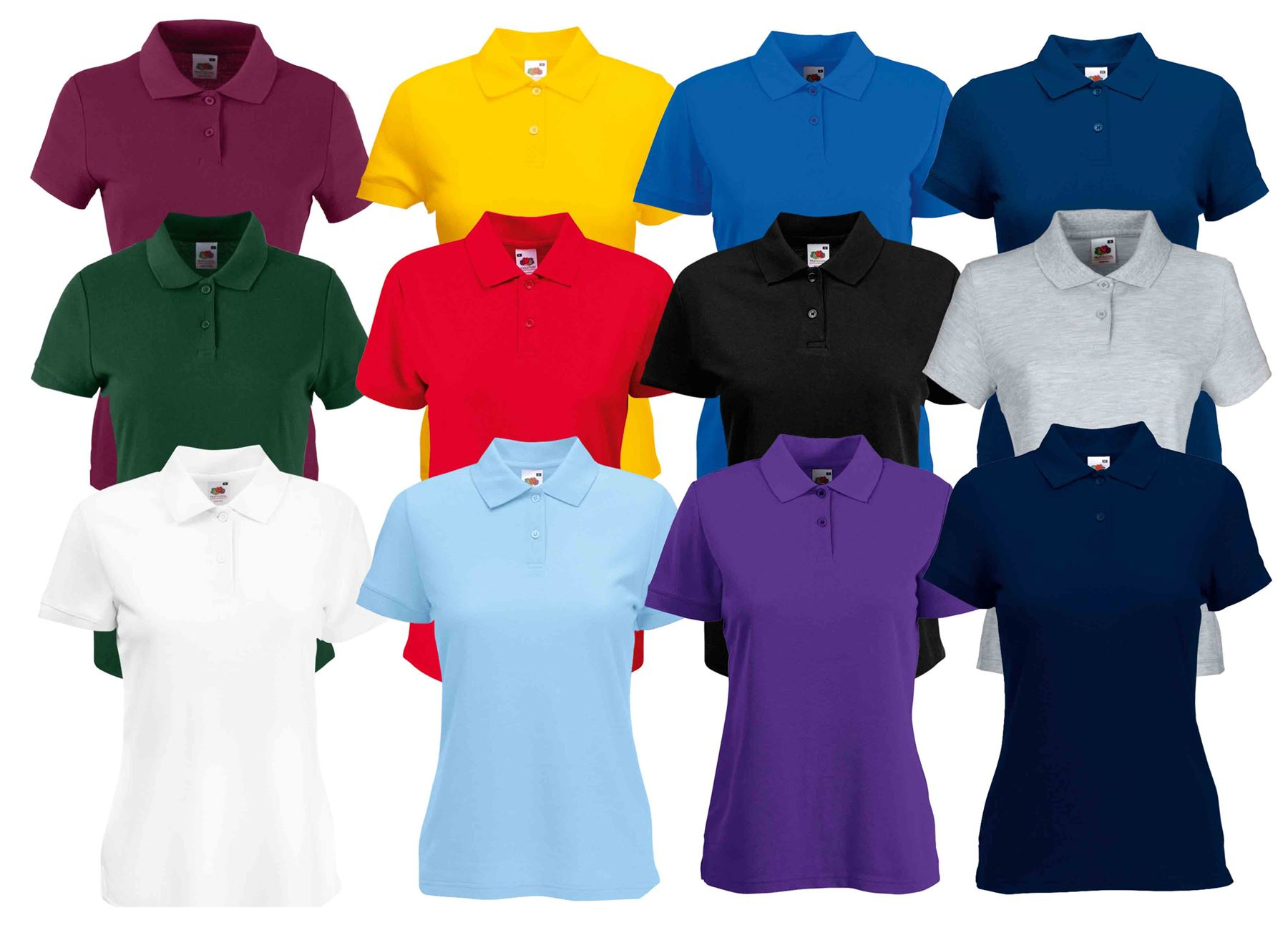 Fruit Of The Loom Ladies Lady Fit Premium Pique Cadat Collar Polo Shirts T-shirt
