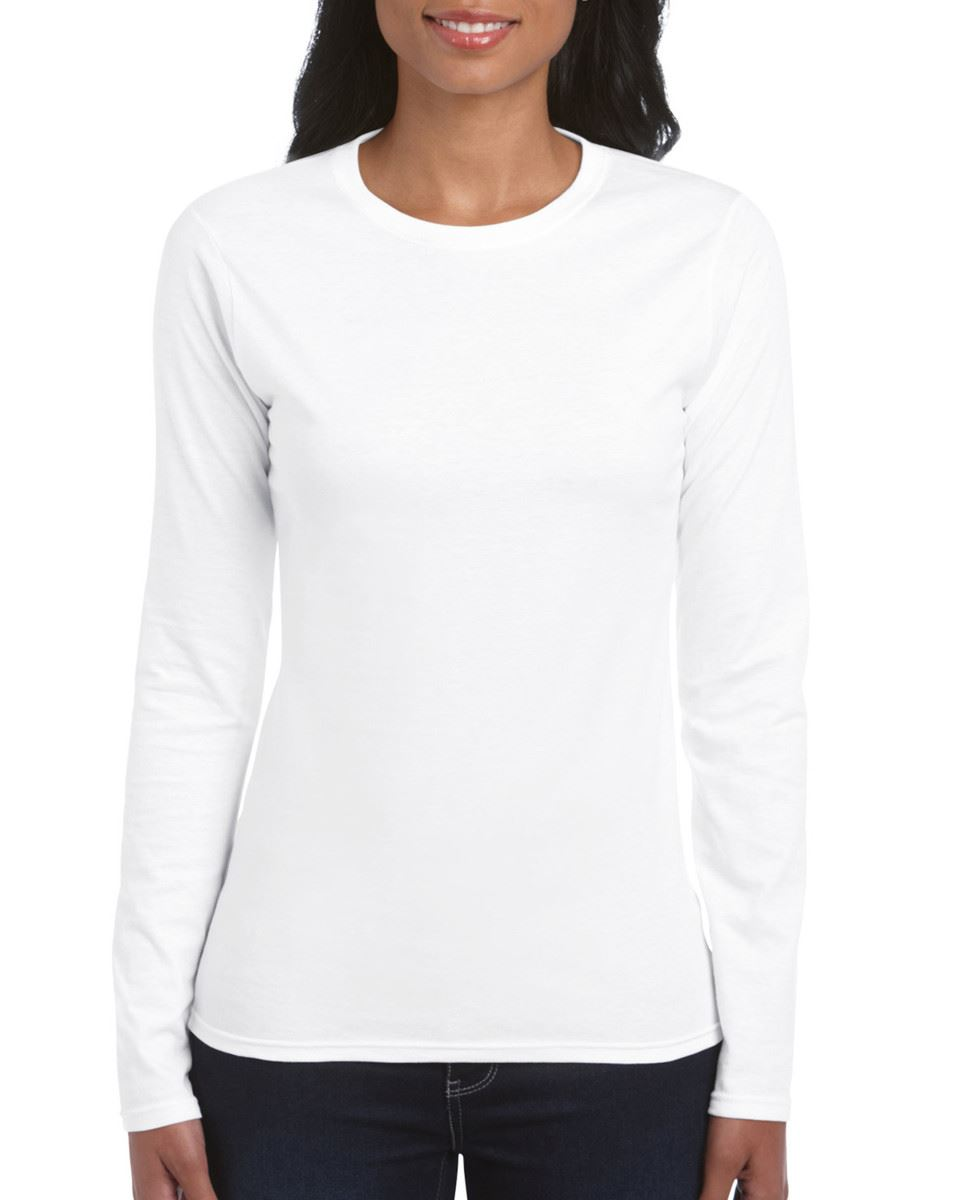 GILDAN-softsyle-Femmes-T-shirt-homme-a-manches-longues-100-Coton-Doux-Decontracte-Femme miniature 3