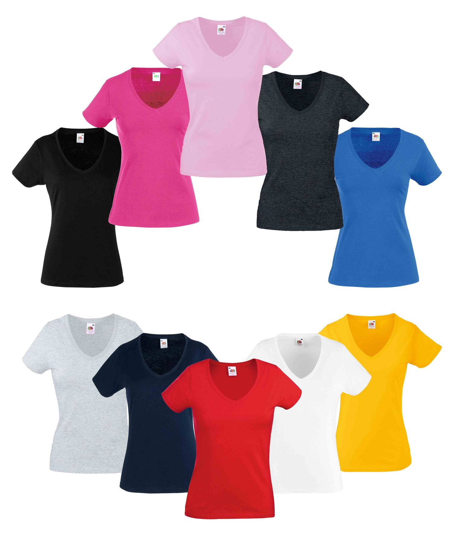118063bc Fruit Of The Loom LADIES T-SHIRT V-NECK LADY FIT COTTON LYCRA TOP ...
