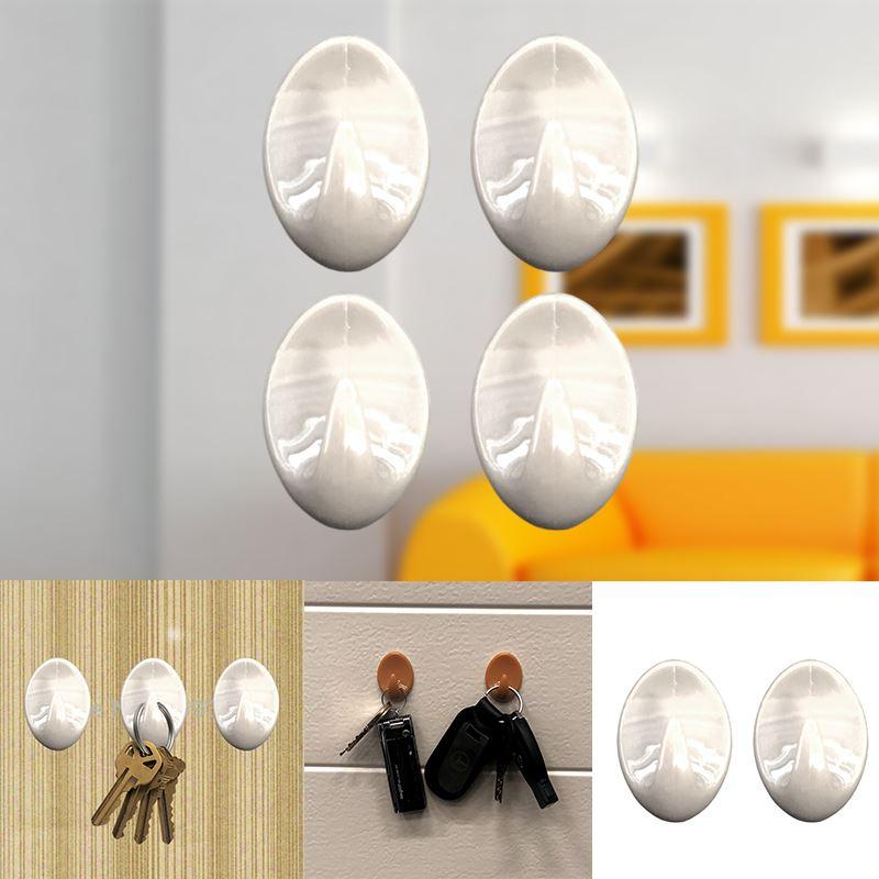 Autoadesivo-bastone-su-Ganci-Marrone-Bianco-Ovale-Cappello-Cappotto-Porta-Muro-appiccicoso-Staffa miniatura 73