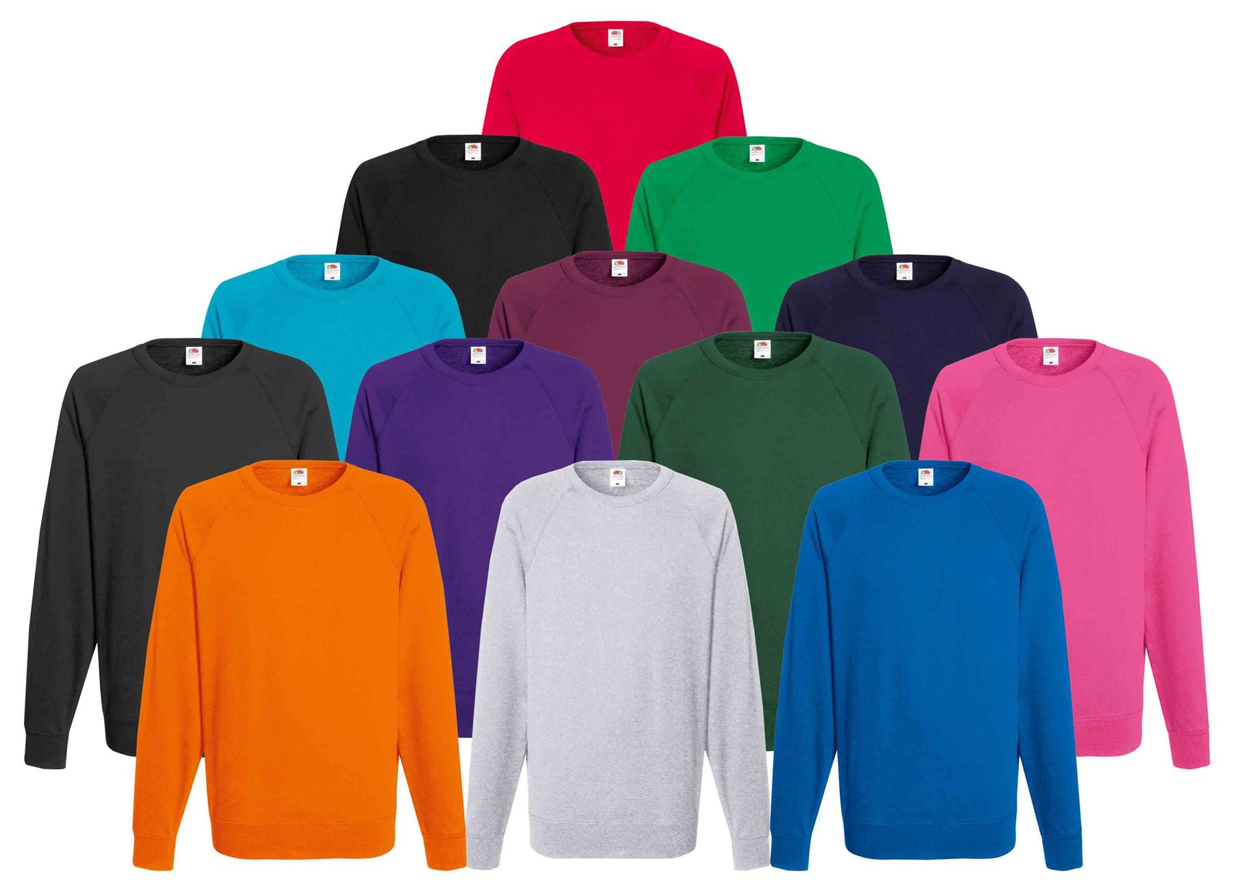 Fruit of the Loom Lightweight Hooded Sweat Jacket 14 Colours//Size Sml-2XL