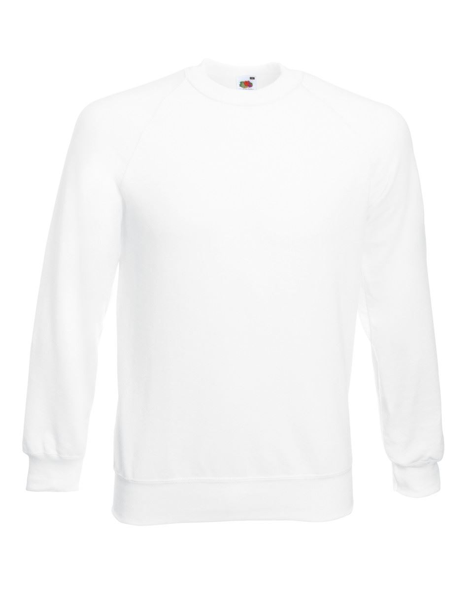 Mens-Sweatshirt-Fruit-Of-The-Loom-Raglan-Sweat-Pullover-Plain-Top-Jumper-Sweater thumbnail 4