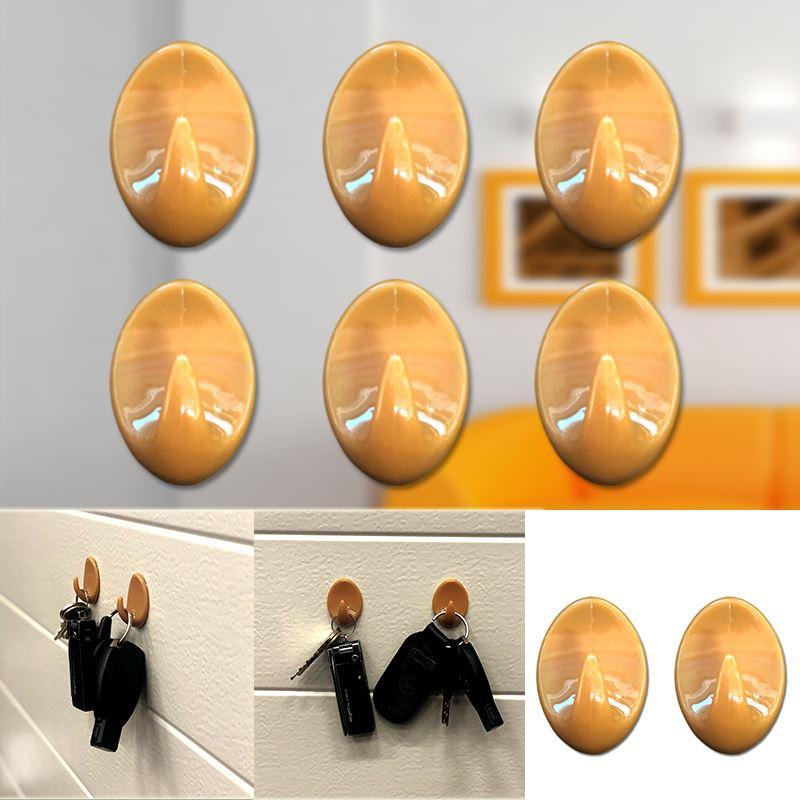 Autoadesivo-bastone-su-Ganci-Marrone-Bianco-Ovale-Cappello-Cappotto-Porta-Muro-appiccicoso-Staffa miniatura 40