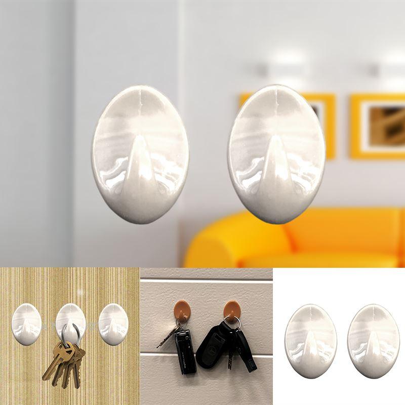 Autoadesivo-bastone-su-Ganci-Marrone-Bianco-Ovale-Cappello-Cappotto-Porta-Muro-appiccicoso-Staffa miniatura 57