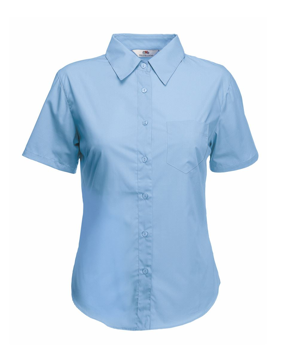 Fruit-of-the-Loom-Femmes-Lady-Fit-Poplin-Boutons-cadat-col-Chemises-amp-Blouses