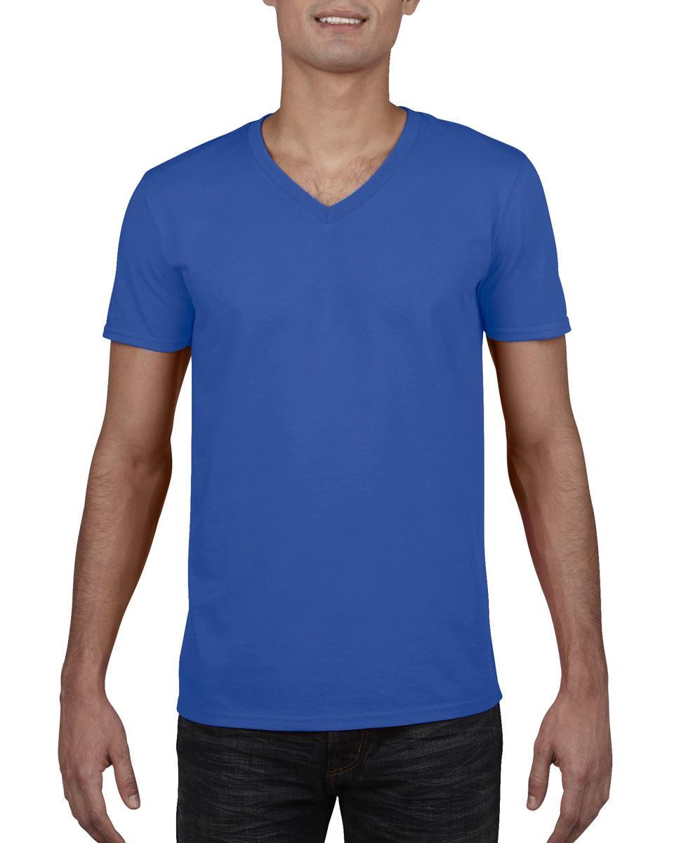 GILDAN-da-uomo-MEN-039-S-SOFT-STYLE-Plain-V-Neck-T-SHIRT-COTTON-TEE-T-shirt miniatura 53