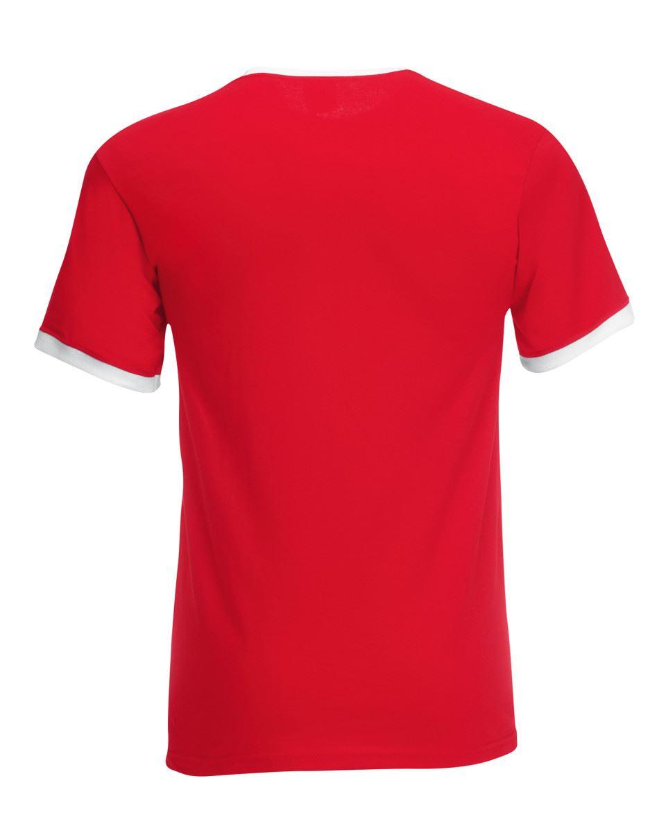Fruit-of-the-Loom-Mens-Short-Sleeve-Plain-Ringer-T-Shirt-Shirt-Two-Tone-Contrast thumbnail 9