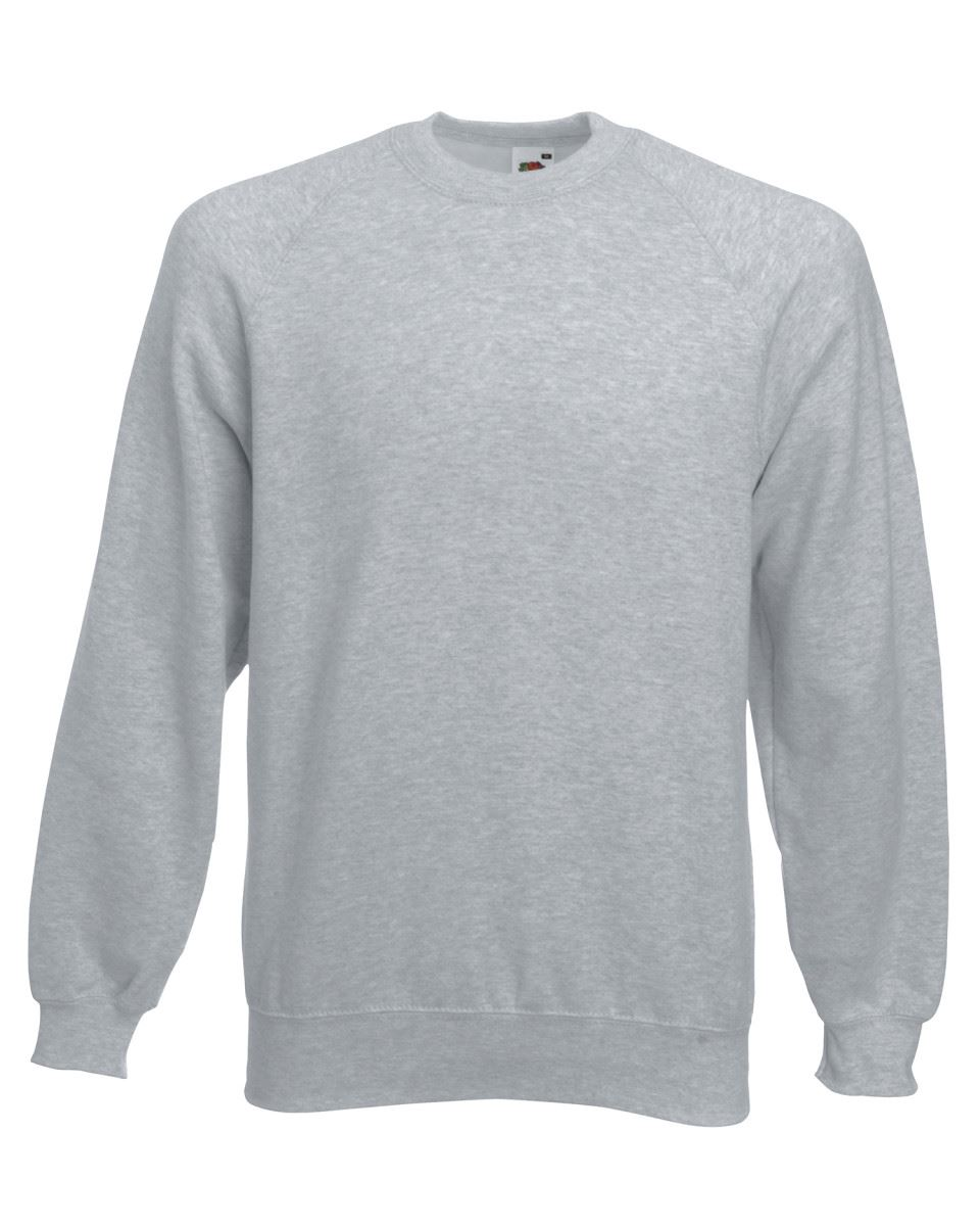 Mens-Sweatshirt-Fruit-Of-The-Loom-Raglan-Sweat-Pullover-Plain-Top-Jumper-Sweater thumbnail 6