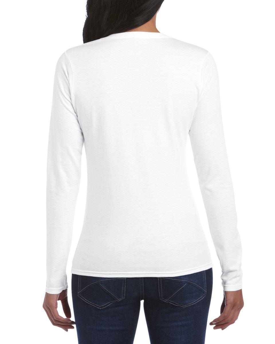 GILDAN-softsyle-Femmes-T-shirt-homme-a-manches-longues-100-Coton-Doux-Decontracte-Femme miniature 4